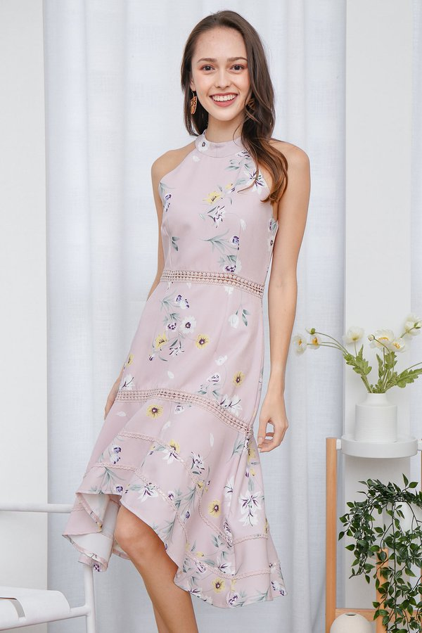 Highnecked Heirlooms Florals Midi Dress Blush Pink