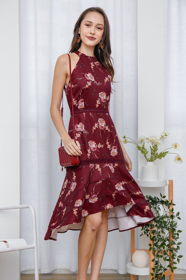 Highnecked Heirlooms Florals Midi Dress Burgundy Red