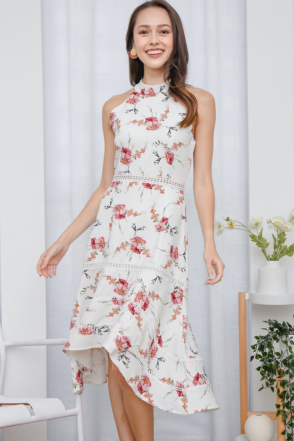 Highnecked Heirlooms Florals Midi Dress White Peony