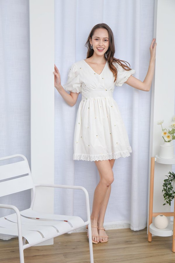 Dollops of Daisies Embroidered Dress