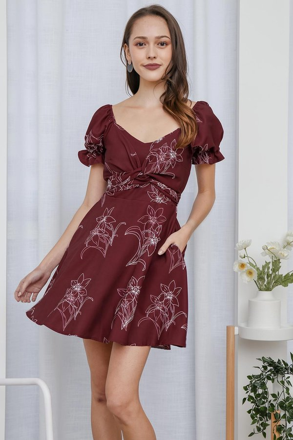 Picture Poetic Florals Twist Cross Front Pocket Dress Burgundy Red