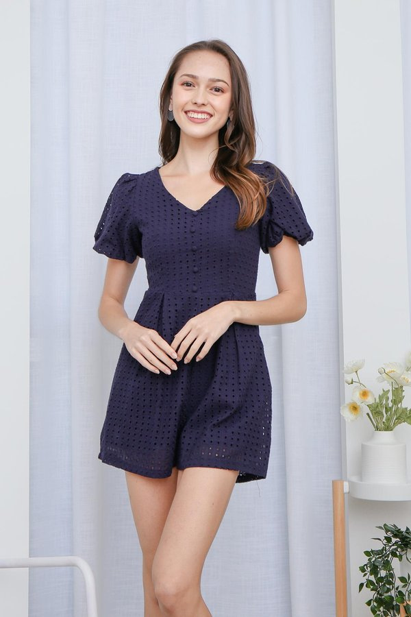 From Dawn to Dazzle Eyelet Pocket Romper Navy Blue