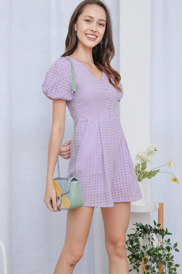 From Dawn to Dazzle Eyelet Pocket Romper Lilac