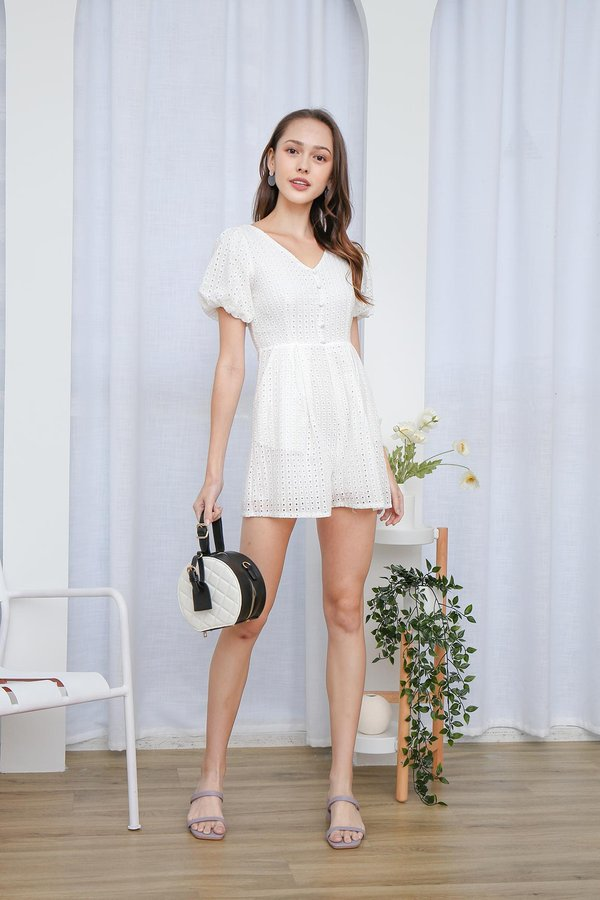 From Dawn to Dazzle Eyelet Pocket Romper White