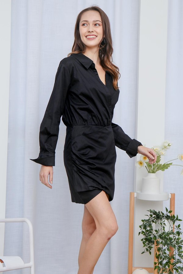 From Savvy to Sunset Ruched Shirt Dress