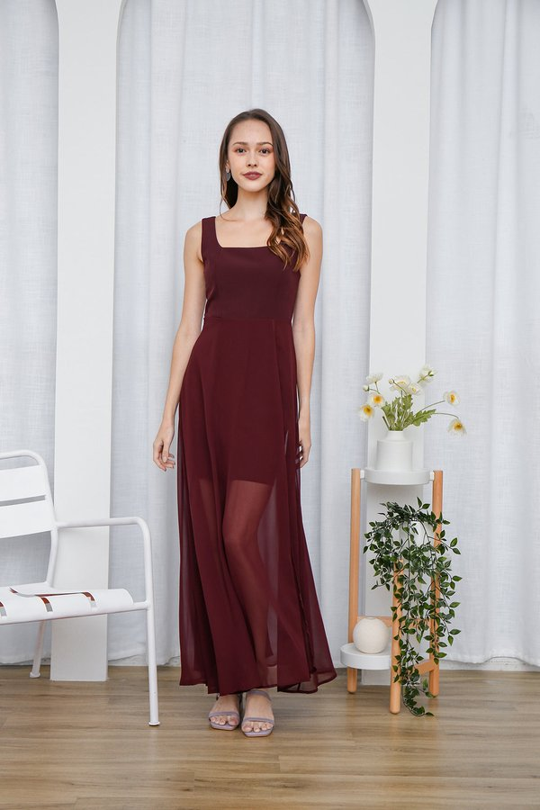 Graceful Glowing Statement Slit Maxi Dress Burgundy Red