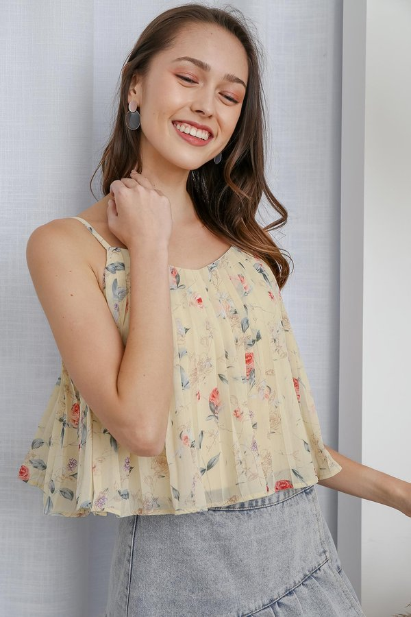 Poetically Pleated Posies Floral Camisole Yellow
