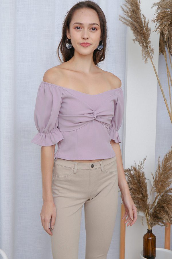 Sealed with a Twist Knot Top Lilac