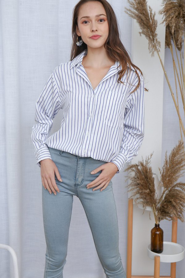 Minimalist Mannish Oversized Shirt Stripes