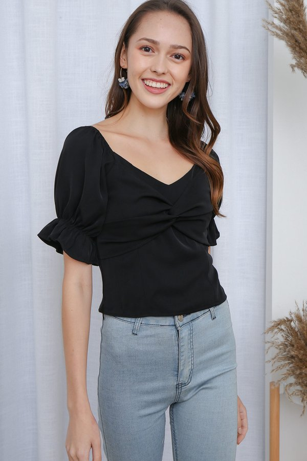 Sealed with a Twist Knot Top Black