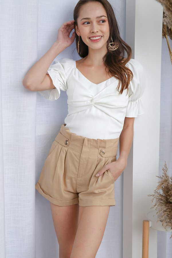 Sealed with a Twist Knot Top White