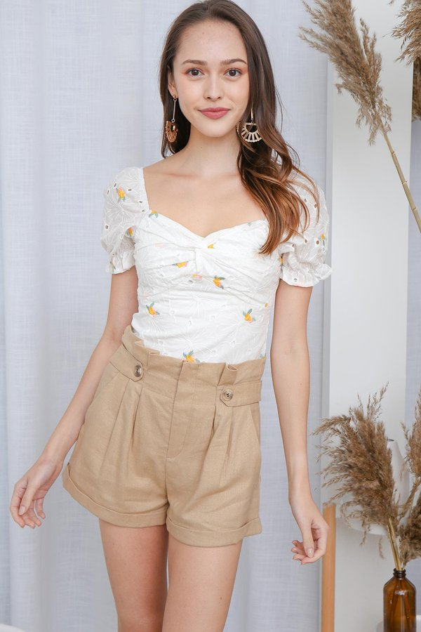 Pink Lemon Drops High Garden Twist Knot Top White