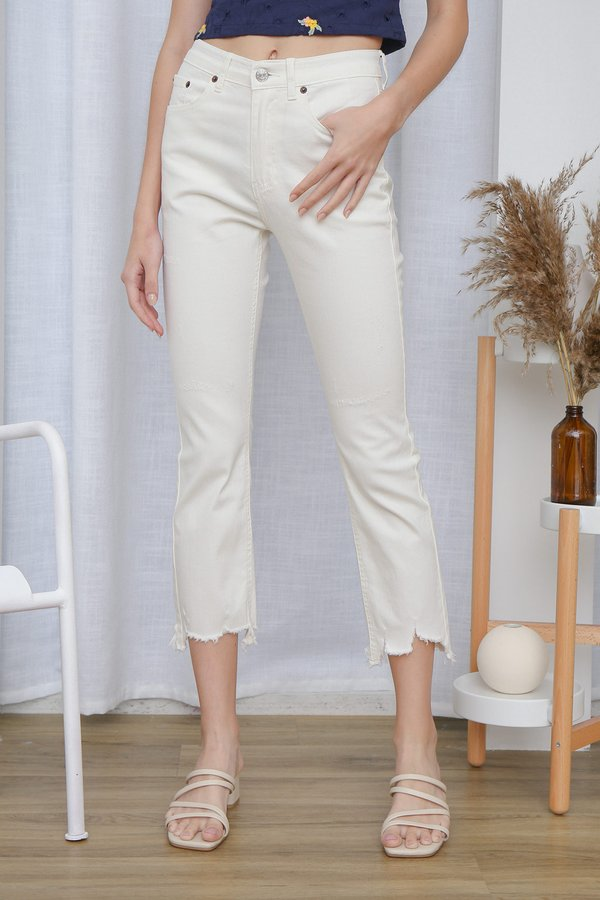 Fun Frays Fringes White Denim Cropped Jeans