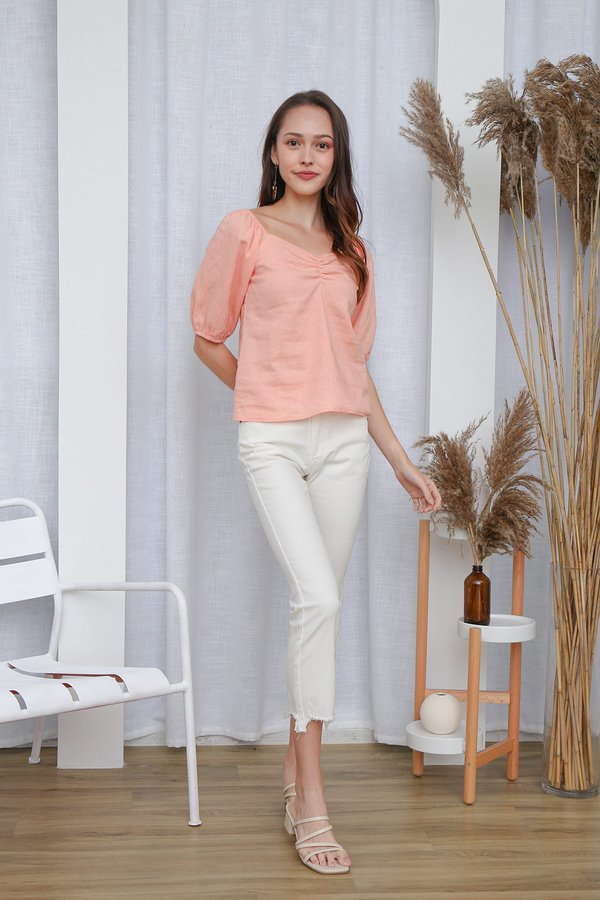 Ruches on a Roll Blouson Top Coral Pink