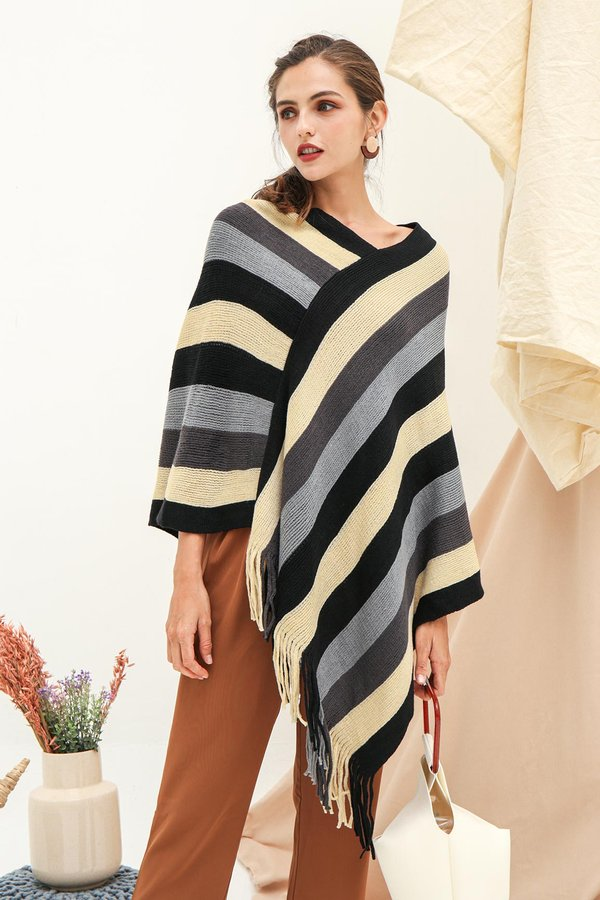 Far Flung Fringes Cape Pullover Knit Poncho Wrap Black Stripes