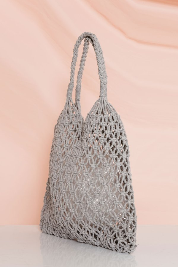 Netted Necessity Woven Bag Grey