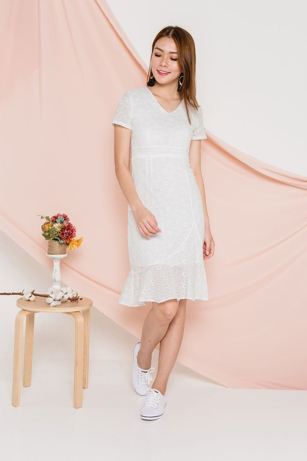 Literary Eyelets Dropwaist Midi Dress White