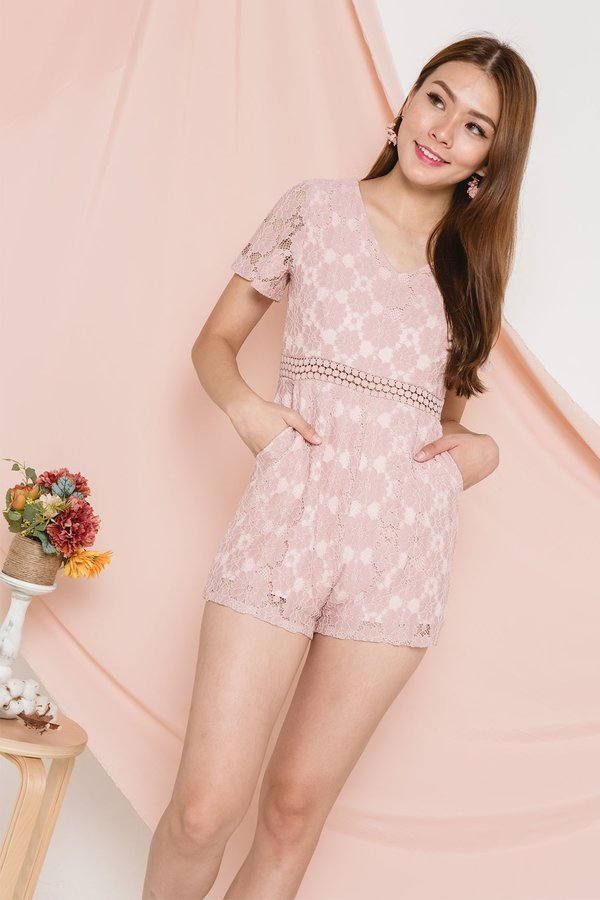 Flowers of Eden Lace Romper Blush