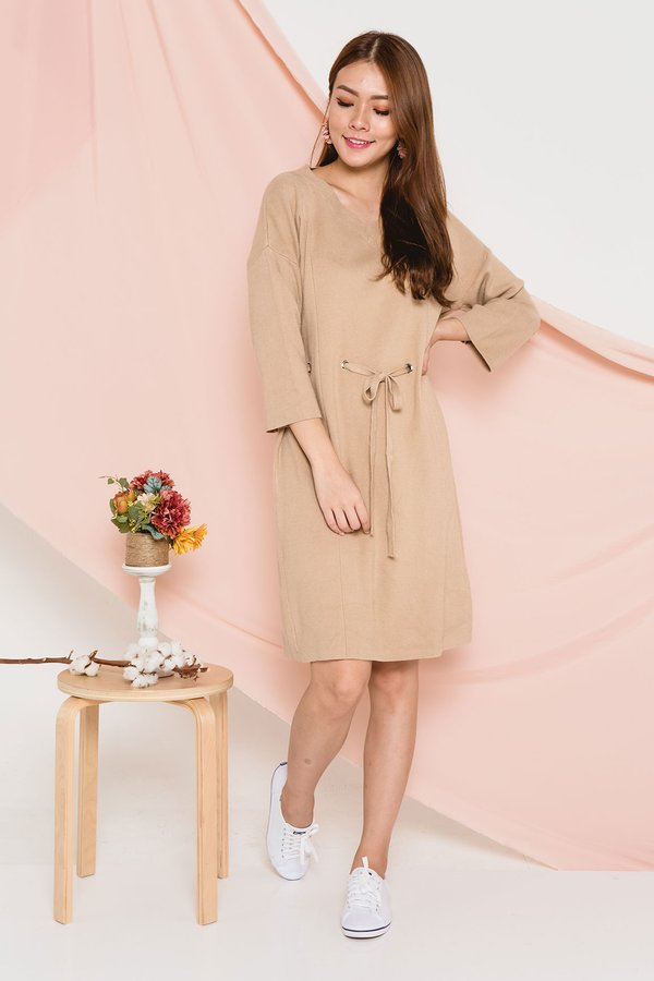 Loosen Up Knit Midi Dress Almond