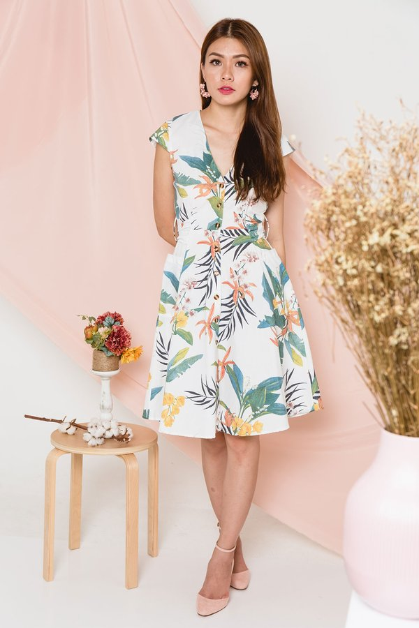 Flourishing Lushness Button Dress