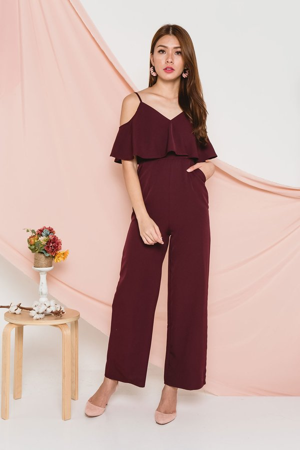 Languidly Lethal Jumpsuit Burgundy Red