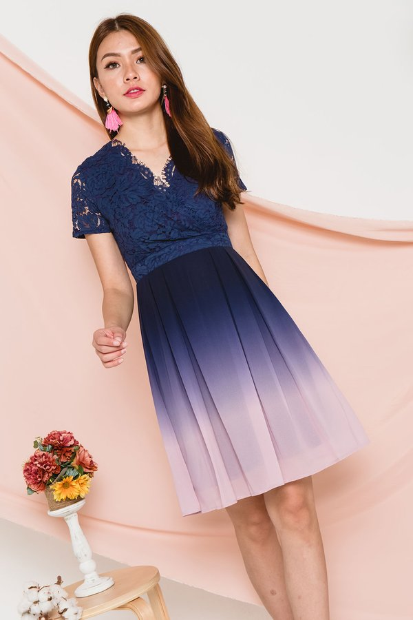 Ornately Ombre Lace Dress Pastel Sky