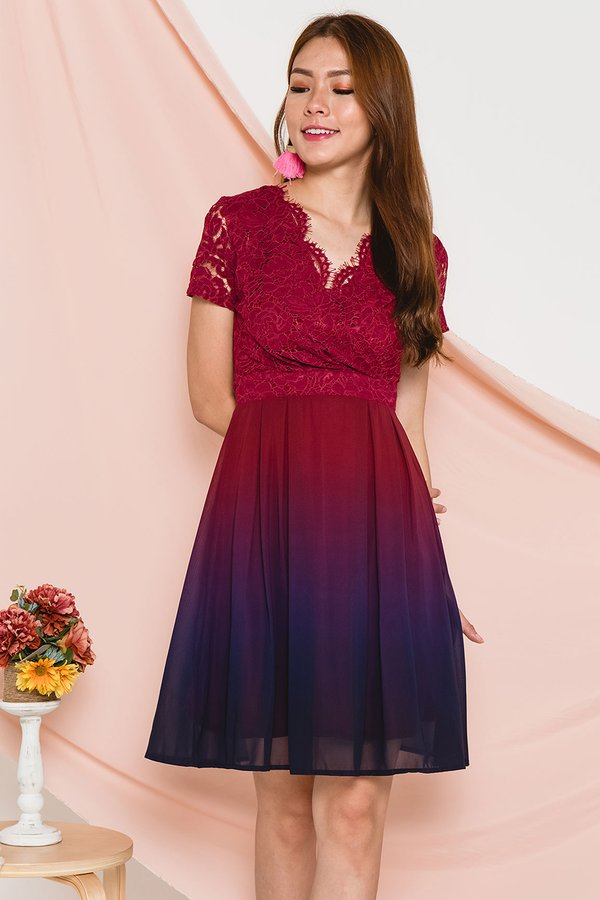 Ornately Ombre Lace Dress Dusk