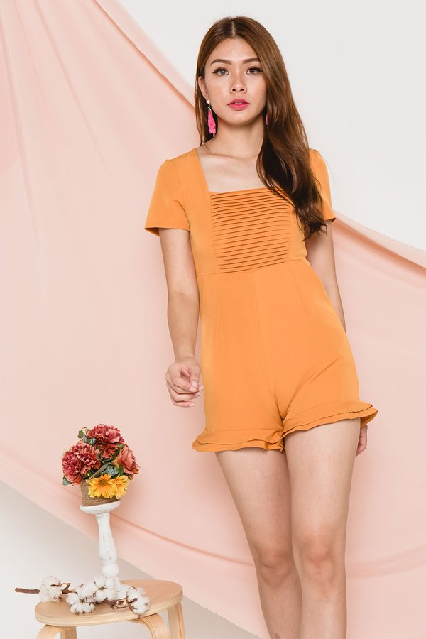 Pintuck Chinoiserie Romper Marigold
