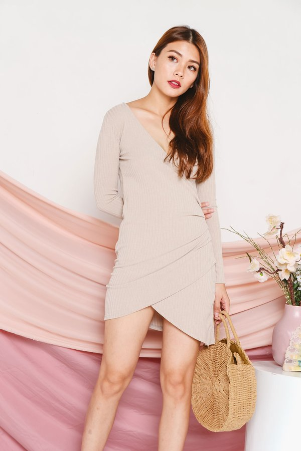 Wrapped Rendition Bodycon Ribbed Knit Dress Almond