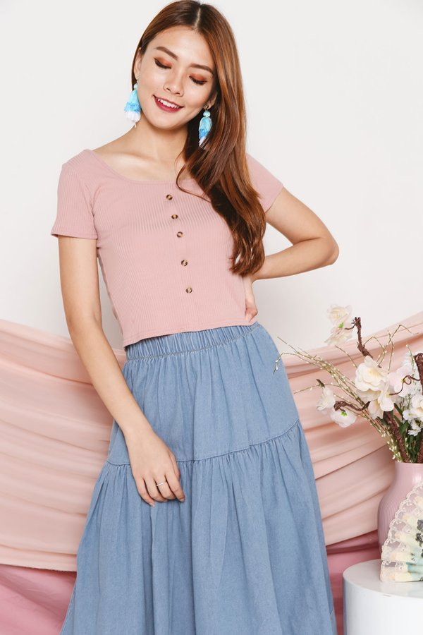Ribbing Basics Button Knit Tee Nude Pink