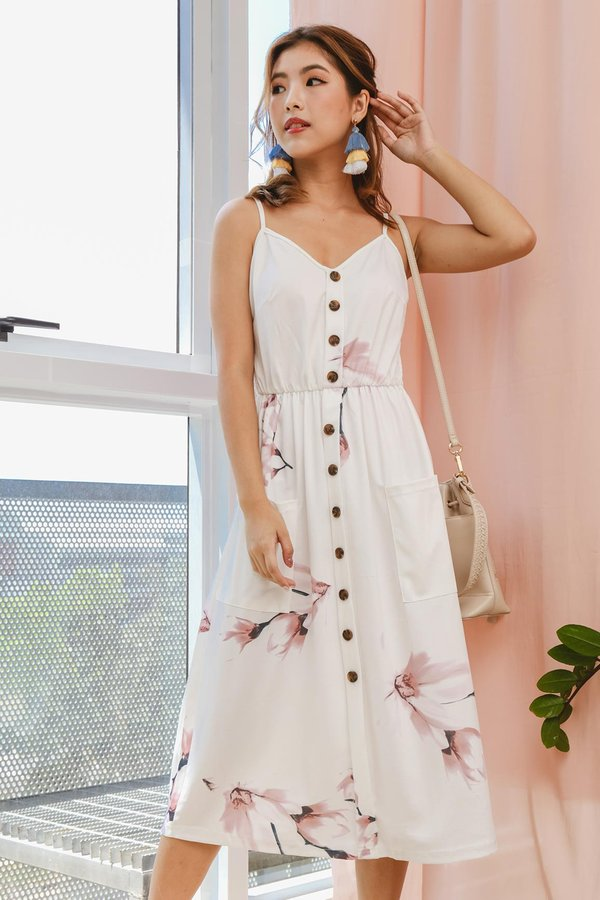 Buttons Booster Summer Midi Dress White Floral