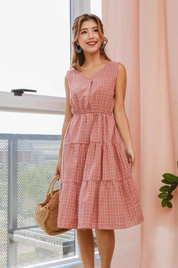 Tiers of Sunshine Gingham Dress Pink