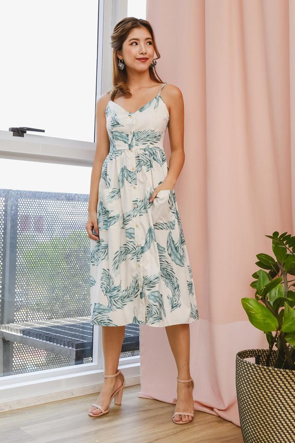 Buttons Booster Summer Midi Dress Palm Leaf