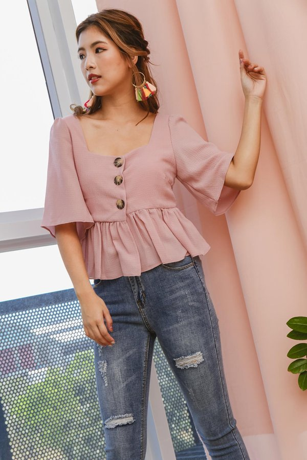Peasantly Prance Button Blouse Pink