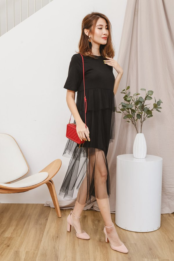 Tulle The End of Time Tee Midi Dress Black