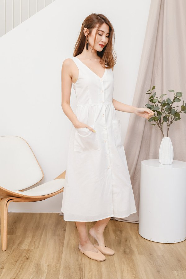 Linen Love Button Midi Dress