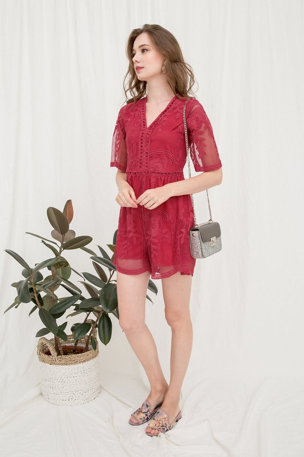 Unveiled Subtlety Lace Romper Watermelon Red