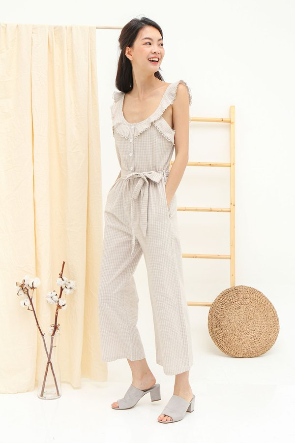 Circularly Checked Lace Trim Flutter Jumpsuit