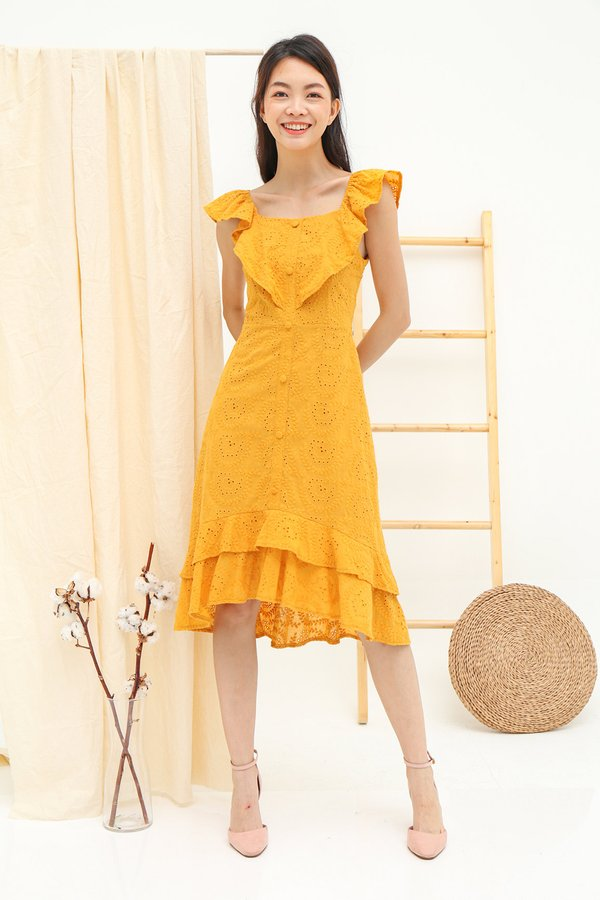 Three Times Frolicky Eyelet Midi Dress Marigold