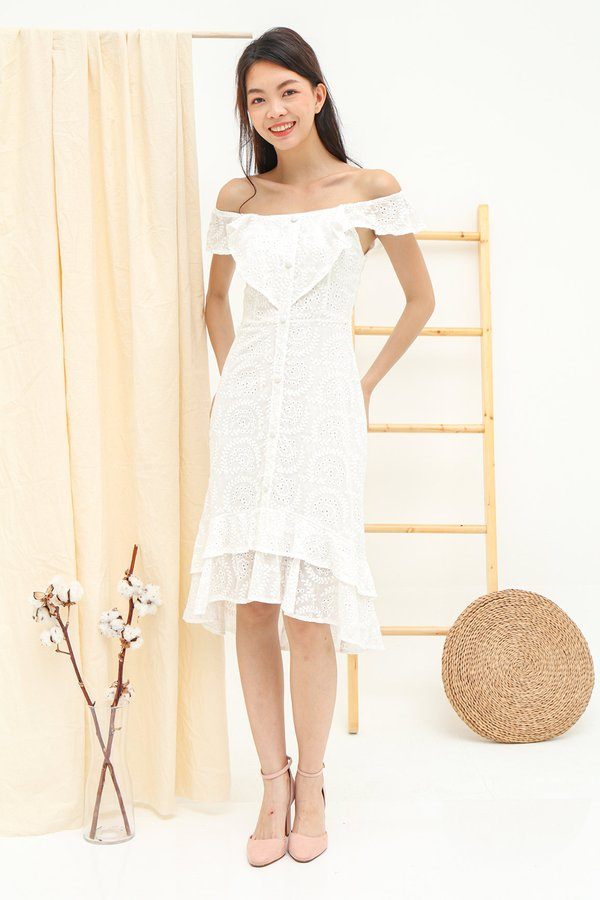 Three Times Frolicky Eyelet Midi Dress White