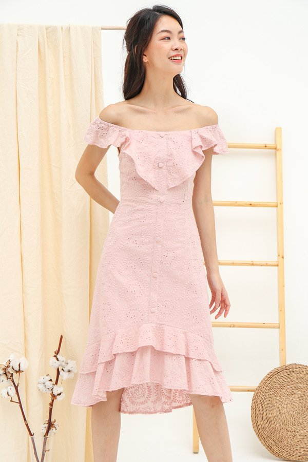 Three Times Frolicky Eyelet Midi Dress Pink