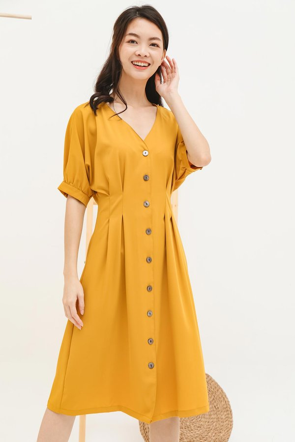Meet me in the Middle Button Midi Dress Marigold