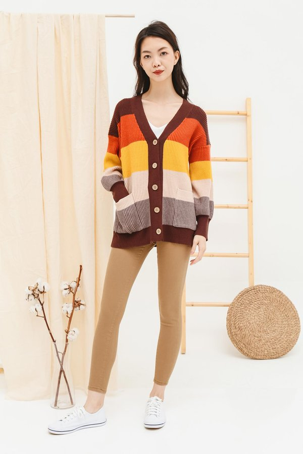 Cosy Colours Rainbow Stripe Knit Cardigan Coffee