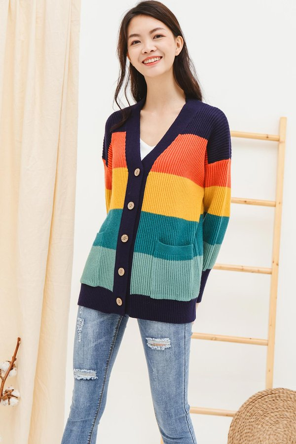 Cosy Colours Rainbow Stripe Knit Cardigan Navy Blue