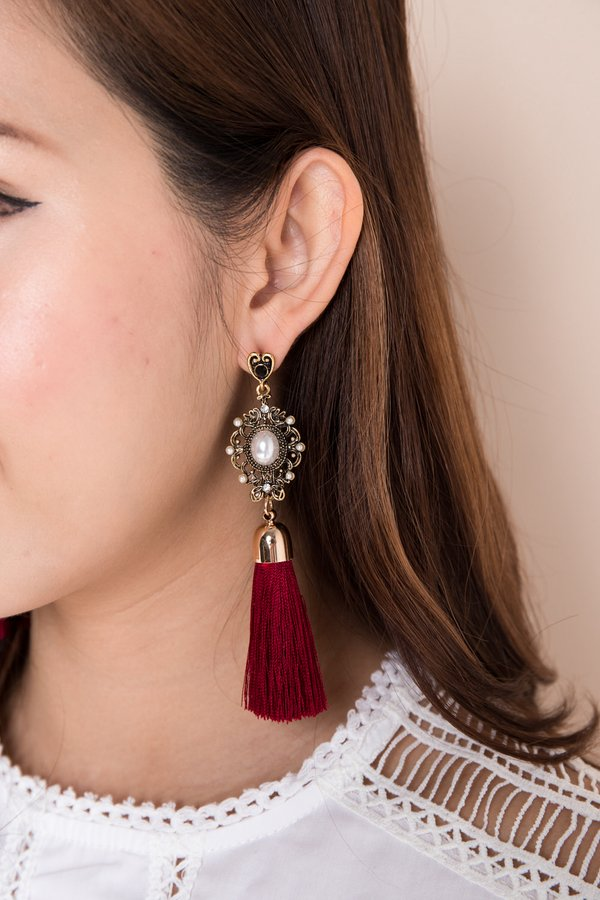 Bejewelled Spectacle Tassel Drop Earrings Burgundy Red