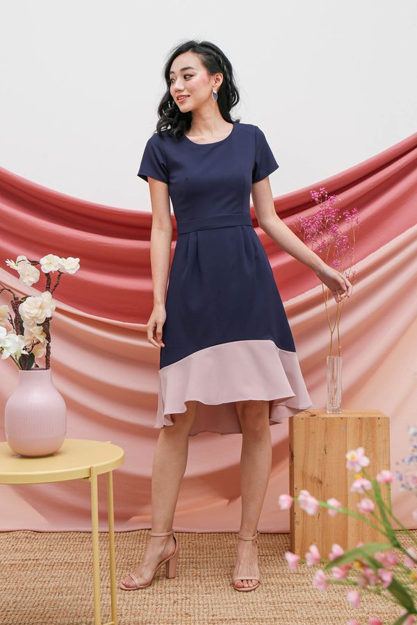Fishtail Felicity Colourblock Midi Dress Navy Blue
