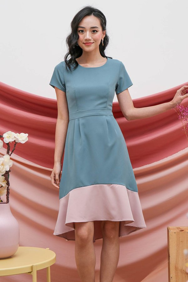 Fishtail Felicity Colourblock Midi Dress Teal