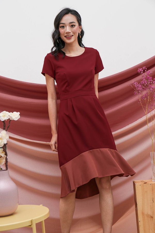 Fishtail Felicity Colourblock Midi Dress Rosewood
