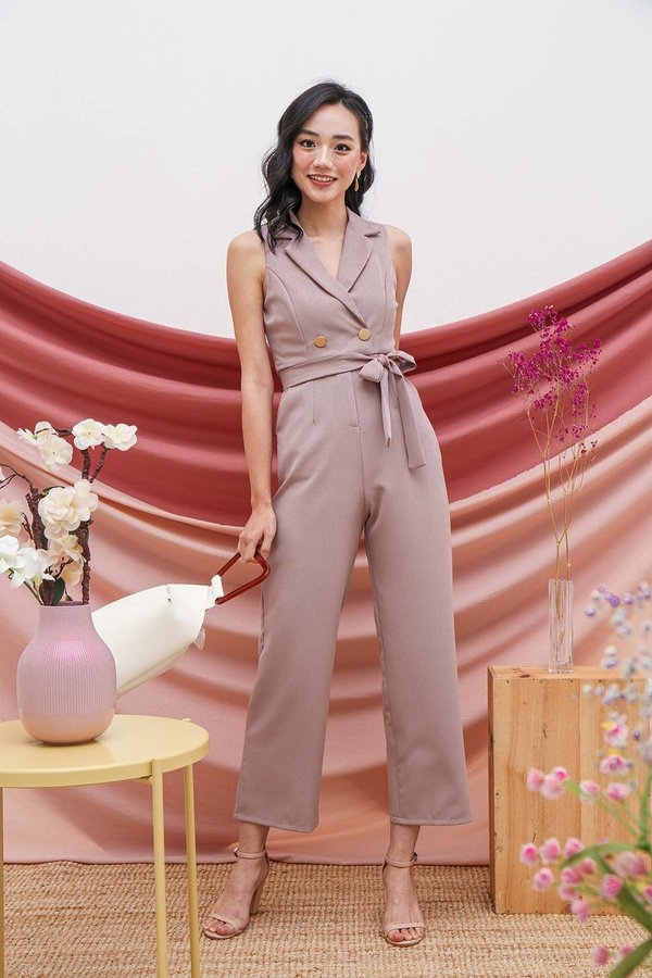 Sartorially Coated Jumpsuit Mauve Pink