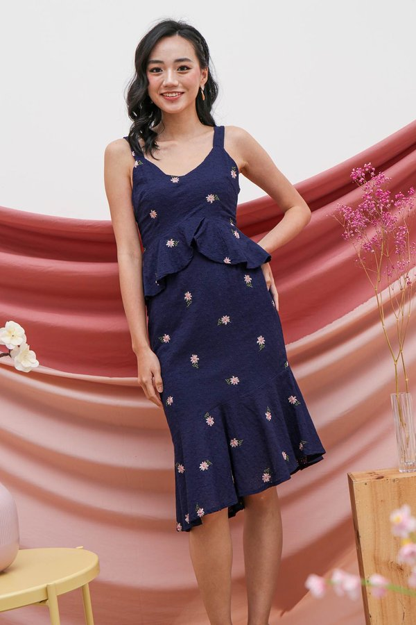 Party Peplum Posies Embroidery Eyelet Dress Navy Blue